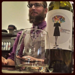 2013 Saeculum Cellars Sauvignon Blanc... and Aaron from the tasting room at Four-Eight wineworks.