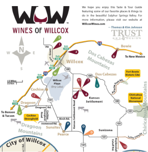 This map, from the Wines over Willcox website, is an excellent overview of the wineries in the Willcox region. Check out their website at http://www.willcoxwines.com/