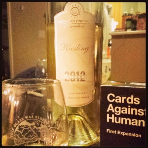 Coronado Vineyards 2012 Riesling, seen in natural habitat at party with awesome card games.