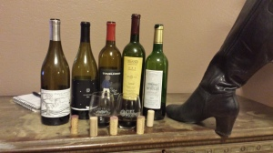 Tannat bottles, with Abby's boot.