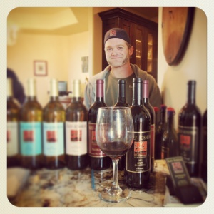Kief Manning with the Estate Mourvedre in the tasting room