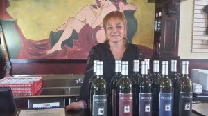 Winemaker Cynthia Snapp with Javelina Leap winery lineup