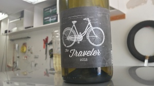 The 2013 Traveler blend from Grand Canyon Winery, sitting on top of a car in the garage.