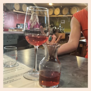 The Rosato, from Oak Creek Vineyards, with metal fingers. And apparently a tiny lady in the glass.