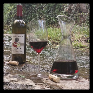 Whole Cluster Merlot relaxing in a mountain stream. One must let this wine breathe.