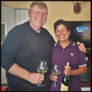 Rick & Maricor Skladzien with a bottle of Phoenix!