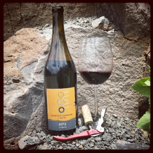 Lawrence Dunham Vineyards 2012 Syrah against ancient basalt on Mingus Mountain